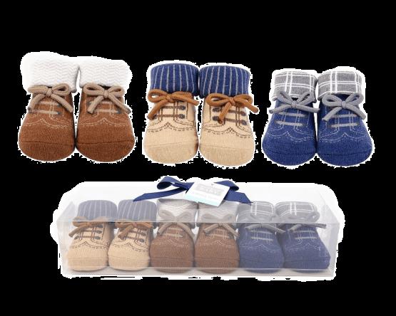 Luvable Friends Booties Socks ( Pack of 3 )