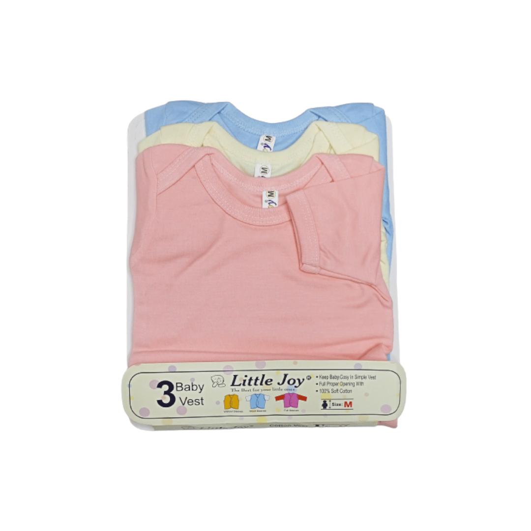 Little Joy Cotton Vest H/Sleeve Multi-Color (Pack of 3)