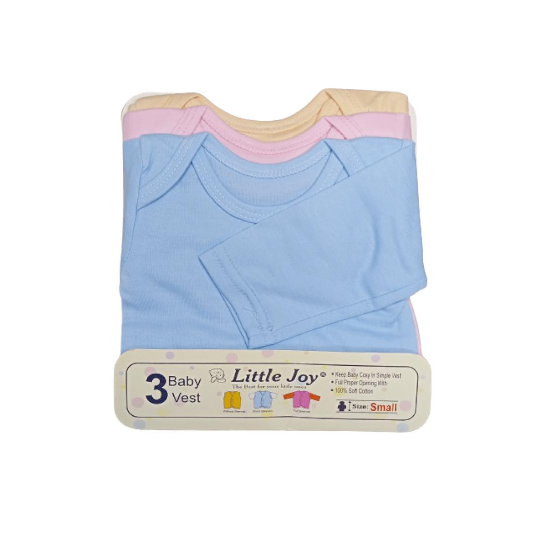 Little Joy Cotton Vest F/Sleeve Multi-Color (Pack of 3)