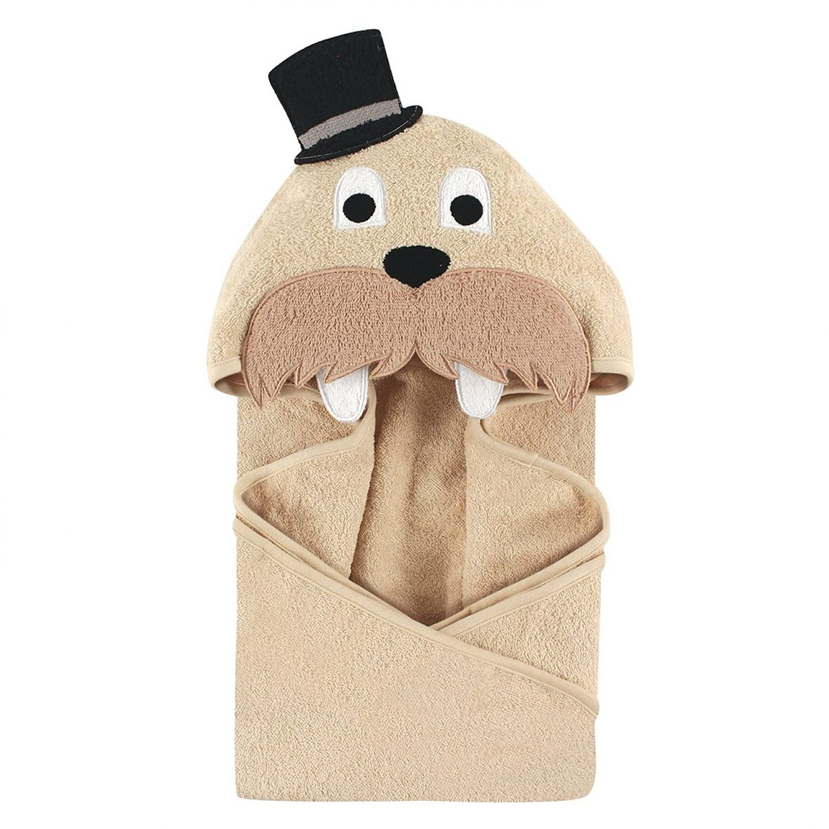 Luvable Friends Cotton Animal Face Hooded Towel, Classy Walrus
