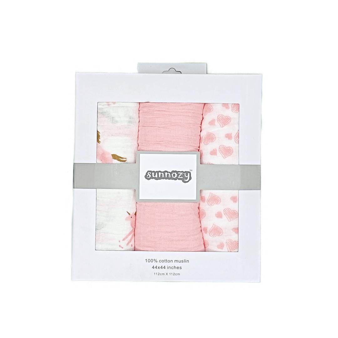 Sunnozy Swaddle Muslin Pk-3 (Pink)