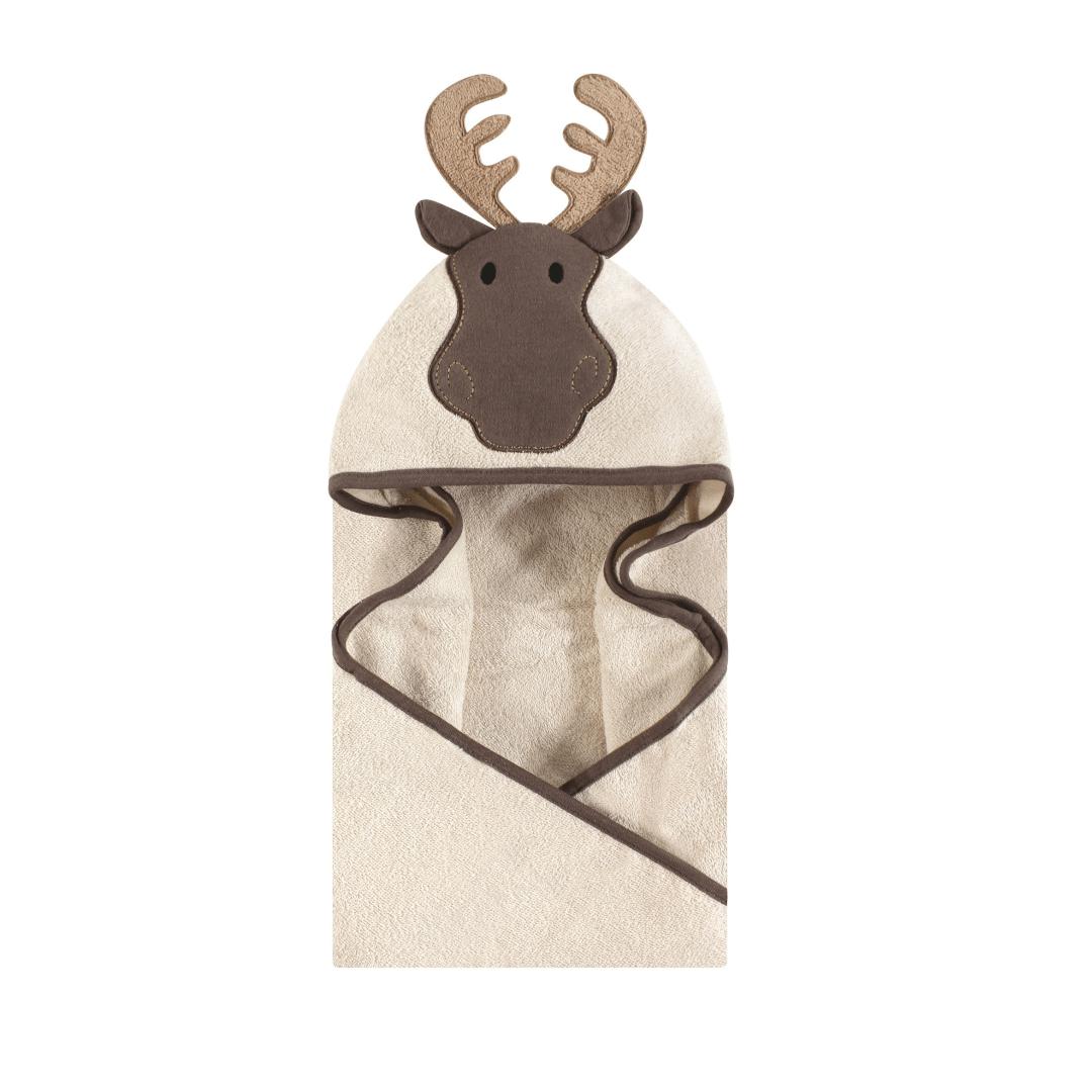 Hudson Baby Cotton Animal Face Hooded Towel, Modern Moose