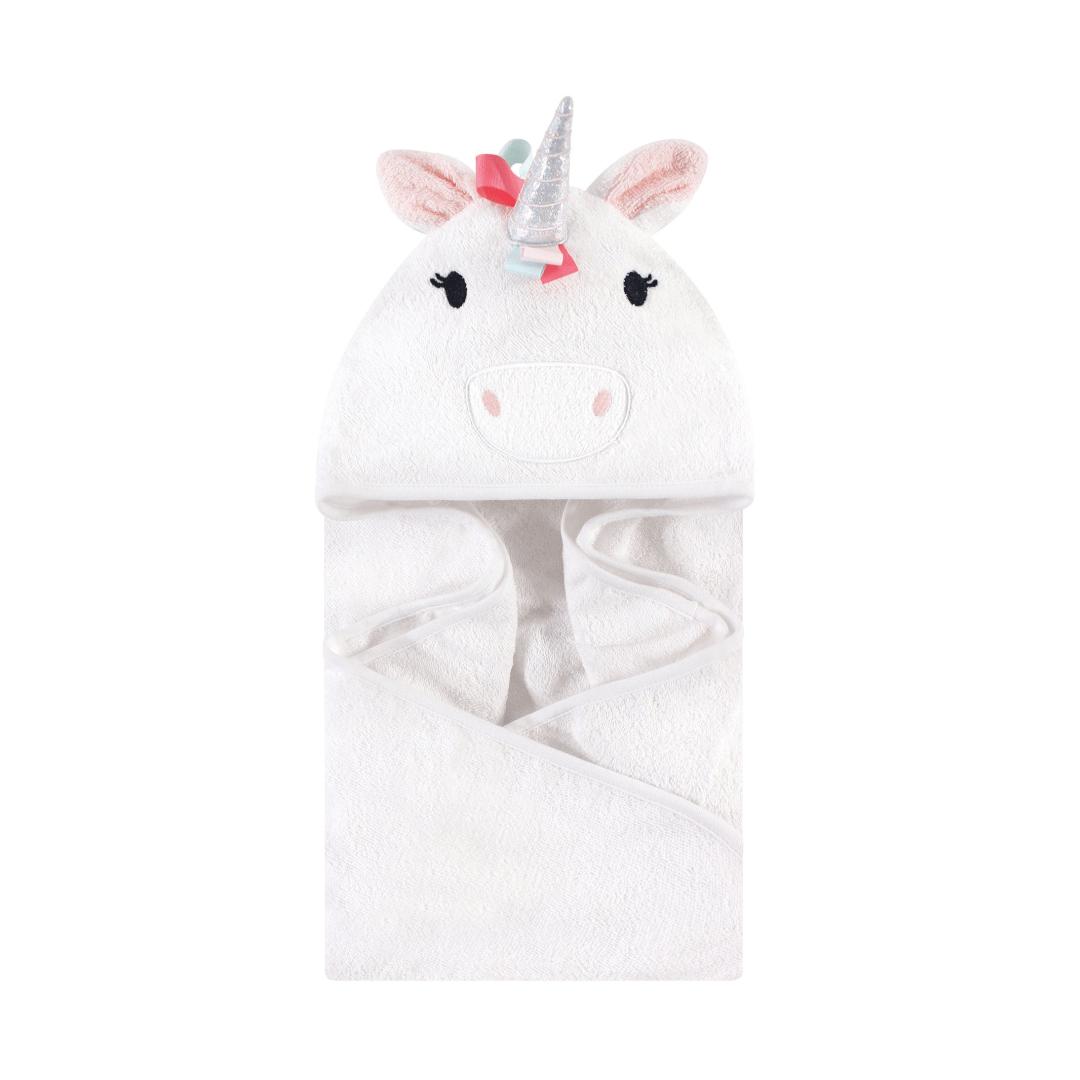 Hudson Baby Cotton Animal Face Hooded Towel, Rainbow Unicorn