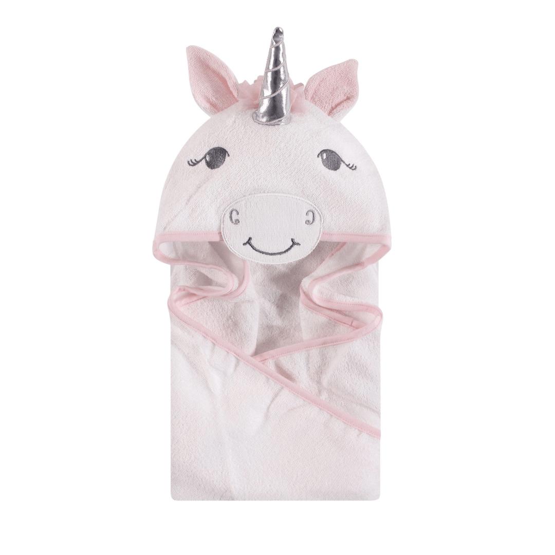 Hudson Baby Cotton Animal Face Hooded Towel, White Unicorn