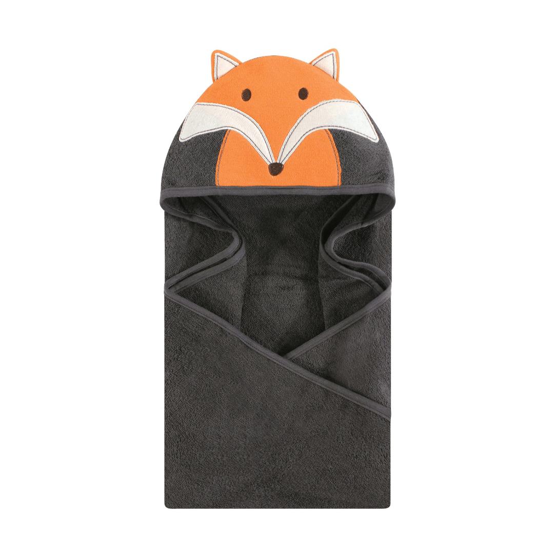 Hudson Baby Cotton Animal Face Hooded Towel, Modern Fox