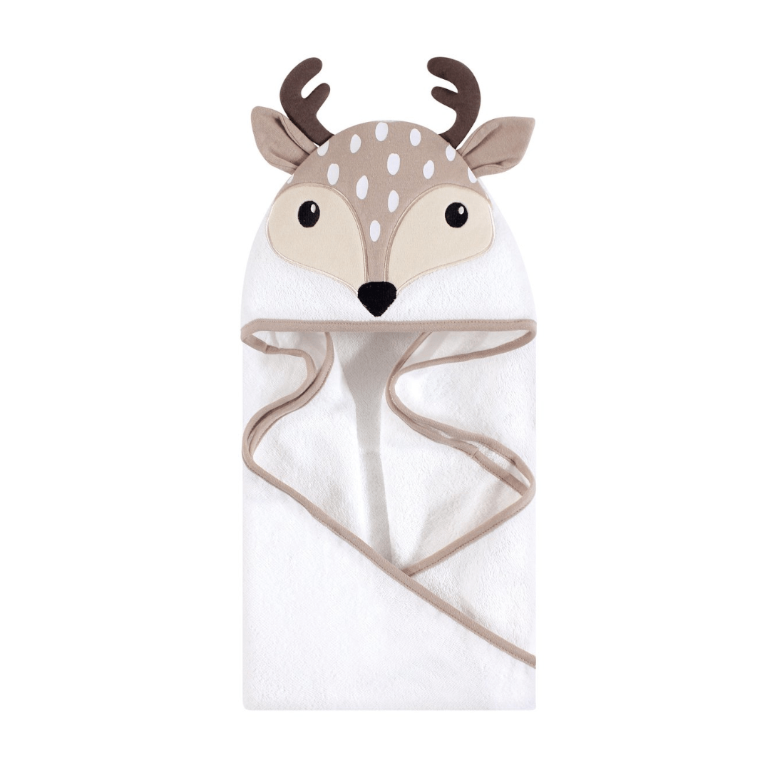 Hudson Baby Cotton Animal Face Hooded Towel, Little Fawn