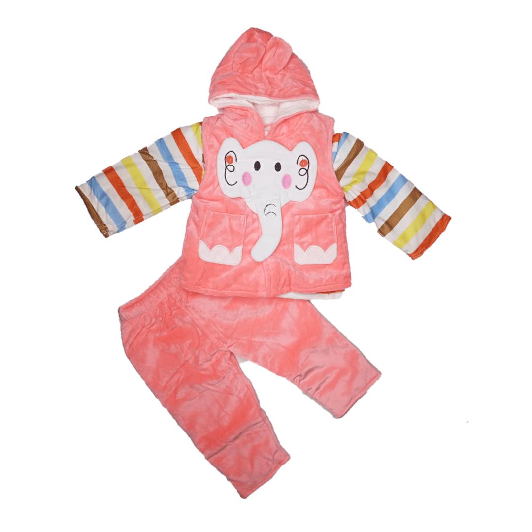 Fluffy Pajama Suit Pink Elephant